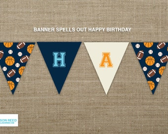 Sports Birthday Banner - Sports Printable - Sports Birthday -  Basketball Birthday - Baseball Printable - Printable Party - Football Party