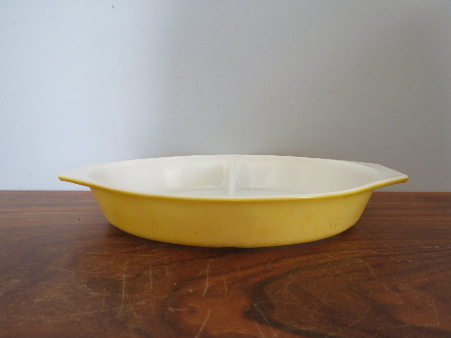 Pyrex Yellow Divided Casserole Vintage Pyrex Baking Dish