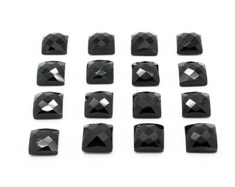 GCF-1047 - Black Onyx Faceted Cabochon - Gemstone Cabochon - Square 12x12mm - AA Quality - 1 Pc