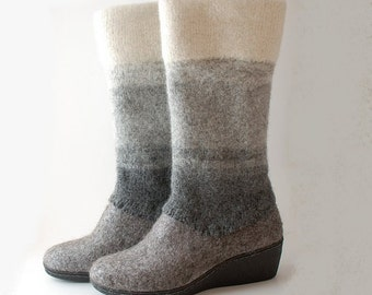 Felted wool boots natural gray white - wedge winter wool shoes