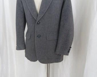 Vintage mens 70s suit jacket sports jacket sportscoat dress jacket blazer gray camel hair wool size 38
