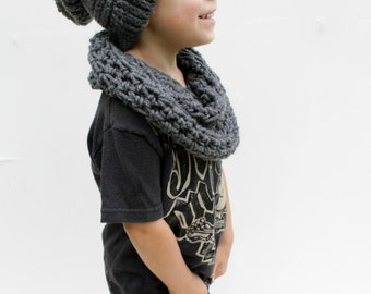 Children's Slouchy Hat, Grey Crochet Hat, Made to Order