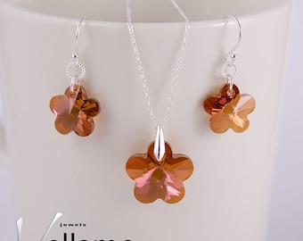 Copper flower garden Swarovski jewelry set, sterling silver earrings and pendant, necklace optional, orange and pink flower Swarovski
