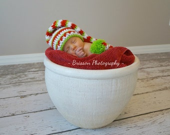 Crochet Baby Hat Elf Pixie Christmas Santa Photo prop Red green and white  Striped Free shipping