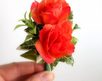Faux Boutonniere - Wedding Boutonniere - Anniversary Boutonniere - Prom Boutonniere - Coral Roses Boutonniere - Coral Boutonniere