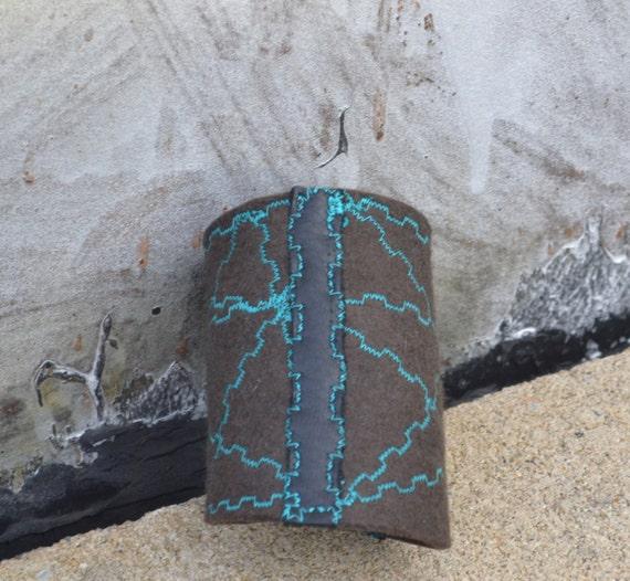 Embroidered Felt Cuff Bracelet - Felt Cuff Bracelet - Geometric Cuff - Hand Dyed