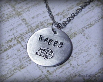 Happy Camper Hand Stamped Necklace
