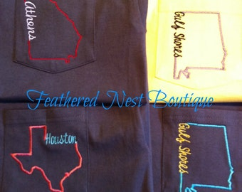 Custom State Line Pocket Tee Short Sleeved Comfort Colors Shirt - choose your State & Town/Mascot/Organization