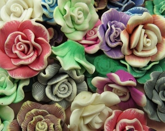 5 pcs Polymer Clay ROSE flatback Cabochons or Beads,   polymer clay flower beads, flower cabochons