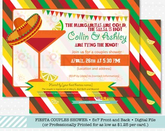 Mexican Fiesta Couples Shower Invitation, Front and Back design, 5x7 Printable Engagement Party by The Silly Nilly Studio