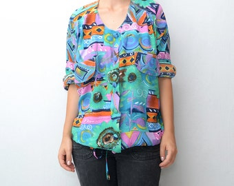 Vintage colorful sunflower women shirt / waist string
