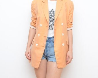 Vintage pastel peach orange women blazer / jacket outerwer