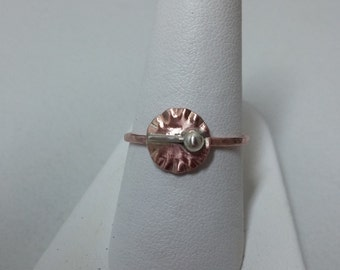 Simple Round Copper Ring with Argentium Sterling Silver Ball and Bar