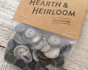Assorted Vintage Gray Buttons  - Pack of 50