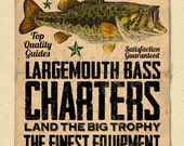 "your name on a personalized Bass Fishing / Charter Poster - 12""x18"" - gift"