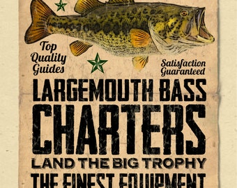 """your name on a personalized Bass Fishing / Charter Poster - 12""""x18"""" - gift"""