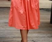 Coral Midi Skirt with Pockets / Bridesmaid Skirt / Salmon Skirt Tea Length