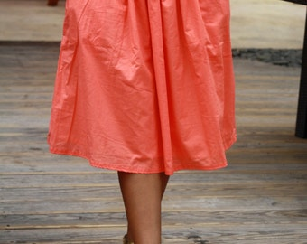 Coral Midi Skirt with Pockets / Bridesmaid Skirt / Salmon Skirt Tea Length