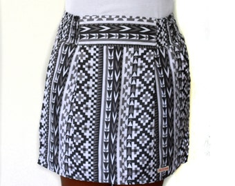 Black and White Mini Skirt, Geometric Skirt with pockets