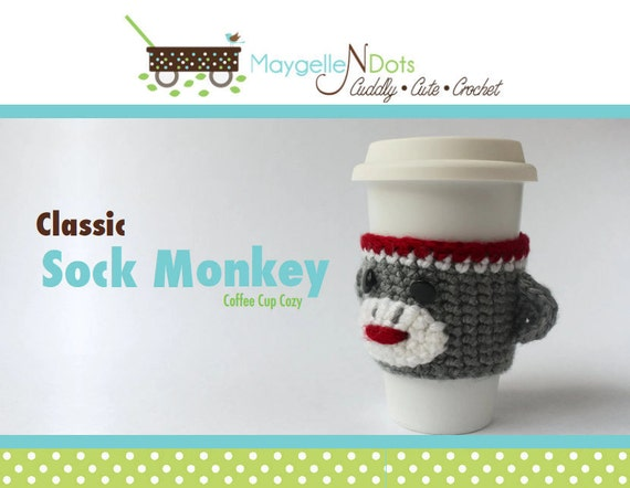 Crochet Coffee Cozy Pattern - Classic Sock Monkey, PDF Instant Download - FREE!