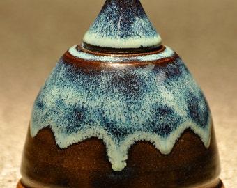 Unique blue-brown ceramic lidded jar or urn