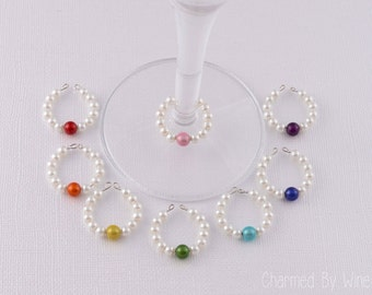Wine Charms Pearl Rainbow (Set of 8) : Wedding favor, Bridal Shower, Bridesmaid Gift, Mother of the Bride gift, Swarovski Pearls