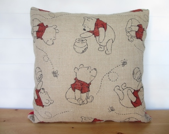 Winnie the Pooh Pillow, Burlap Pillow, Winnie Decor, Pooh Decor, Child Pillow, Red Minky Pillow Back, Children's Room Decor