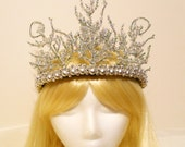 Snow Ice Queen Crown, Fairy Princess Frozen Tiara Winter Game of Thrones Christmas Holiday Goddess Costume Icicle Branches New Years Eve