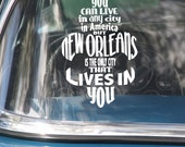 "New Orleans Lives in You Fleur de lis Car Decal 5.5"" x 8"""