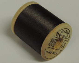 Antique 1940's Corticelli Pure Silk Hand Sewing Embroidery Thread 100 Yd. Wooden spool Shade 7980 Dark Rich Brown