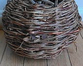 Handmade Birds Nest Basket, vintage basket, wooden basket, bird's nest, handwoven basket