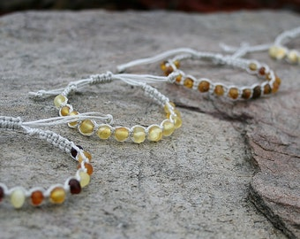 Baltic Amber Teething Adjustable Unpolished Raw Bracelet / Anklet / Dog Collar (amber and/or hazelwood)