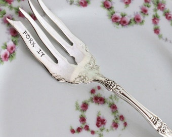 La Vigne 1908 ANTIQUE Silver Plate Meat Serve Fork Silverware Fork Hand Stamped w/FORK IT