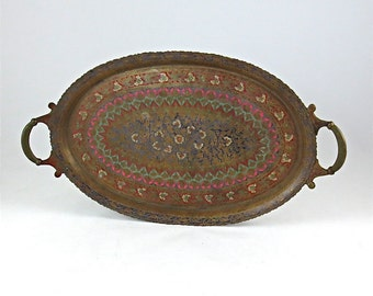 Antique Hand Chased Brass and Enamel Tray / Made in India