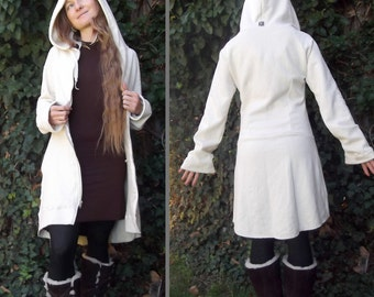 Crescent Moon Coat: Long Zipper Hoodie. Hemp Organic Cotton Fleece. Women's Fitted Hooded Wedding Jacket. Natural White or Black.