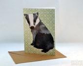 Curious Badger Greetings Card, Blank Card, Birthday Card, Thank You Card, Easter Card
