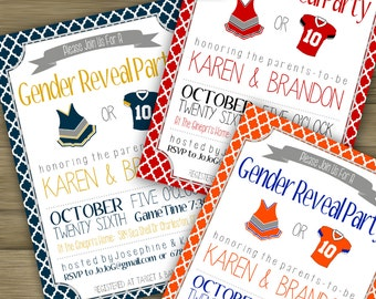 CUSTOMIZED // PRINTABLE // Baby Gender Reveal Invitation // Football Baby Shower Theme //
