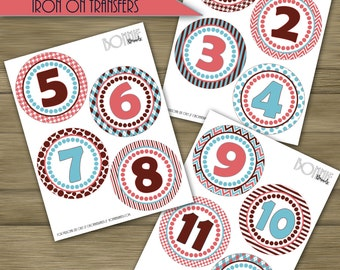 PRINTABLE DIY Monthly Baby Stickers or Iron On Transfers // Baby Milestone // Baby Girl // Pink, Light Blue, Brown  // 12 unique patterns