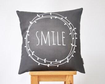 """Decorative Pillow, Modern Kids Pillows, Nursery Pillow, Throw Pillow, Cushion Cover, Monochrome Chalkboard Pillow 16"""" x 16"""""""