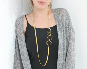 Asymmetrical necklace, Statement necklace, Long gold necklace, Geometric necklace, Asymmetric side necklace, Urban necklace
