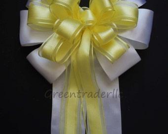 Yellow White Wedding Pew Bow Decoration White Yellow Wedding Aisle Bow Birthday Shower Party Decoration Bow
