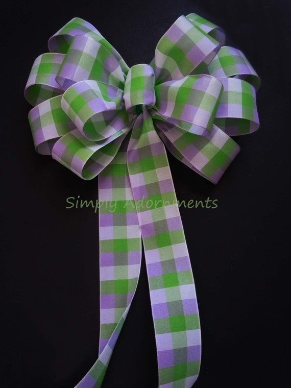 Purple and Green Plaid Bow Spring Plaid Wedding Pew Bow Purple Green Plaid Wreath Bow Green Purple Shower Birthday Party Decor
