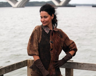 """Pattern for seemless felted Jacket """"Nutmeg"""" with instructions"""