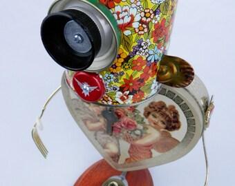 """Robot Sculpture """"Pucker Up"""" Found Object Art - Junk Art - Folk Art by Kurth"""