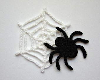 Crochet  SPIDER n' WEB Applique, Solid Color