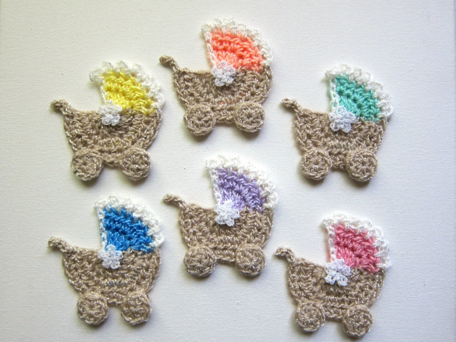 1pc 3 Crochet BABY MOSES Basket Applique Carriage