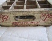 Antique 7-UP Wood Divided Bottle Box, Bottled in Minneapolis, St. Paul