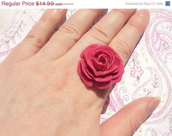 50% OFF SALE Hot Pink Rose Ring, Handmade Jewelry