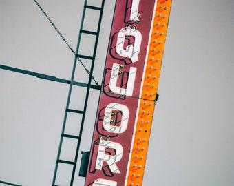 Liquor Store Bar Art - Vintage Neon Sign Photography Print photo