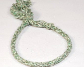 Kumihimo Bracelet Eco Friendly Cotton & Hemp Fibre Mens or Womens Green Speckled Jewelry